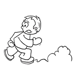 simple black and white boy running vector image