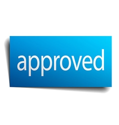 Approved blue square isolated paper sign on white vector