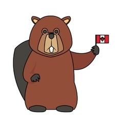 beaver cartoon icon vector image