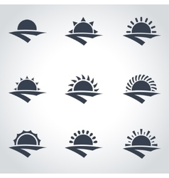 black sunrise icon set vector image vector image