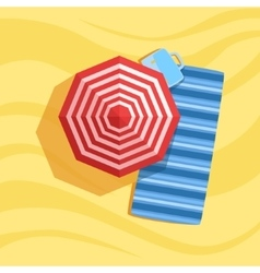 Blanket case and umbrella spot on the beach vector