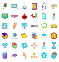 Business unit icons set cartoon style vector