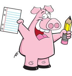 Cartoon student pig vector