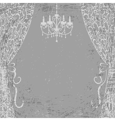 Chandelier and curtains vector