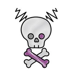 grated skull with bones to dander symbol to death vector image vector image
