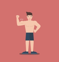 Gym fitness muscular cartoon man shirtless flat vector