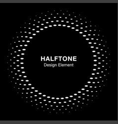 Halftone circle frame oval dots emblem vector