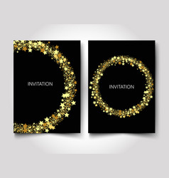 invitation template gold glitter with gold stars vector image vector image