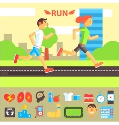 Jogging and running set vector