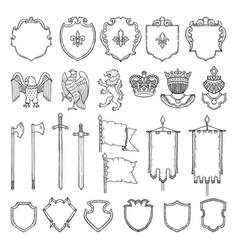 medieval heraldic symbols isolate on white vector image vector image