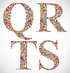 Ornate alphabet letters q r s t vector