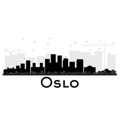 oslo norway skyline black and white silhouette vector image vector image