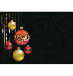 Red and gold christmas balls4 vector
