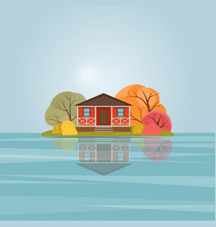 Red wooden house on the lake vector