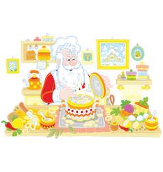 Santa claus cooking vector