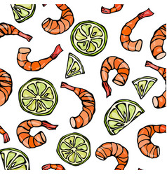 seafood seamless pattern shrimp or prawn and lime vector image