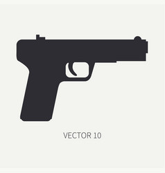 Silhouette line flat military icon handgun vector