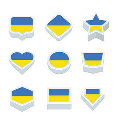 Ukraine flags icons and button set nine styles vector