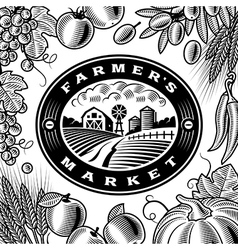 Vintage Farmers Market Label Black And White vector image vector image