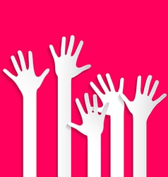 Voting Hands - Paper Cut Palm Hands and Arms Set vector image