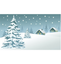 Winter country landscape vector