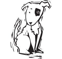 Woodcut Spot Dog vector image