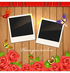 Wooden frame rose vector