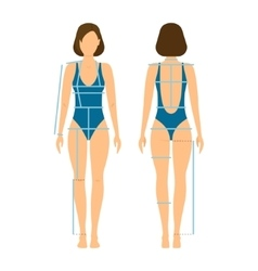 Woman body front and back for measurement vector