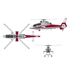 Helicopter in three views top view side front vector