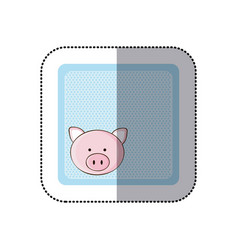 Sticker colorful greeting card with picture pig vector