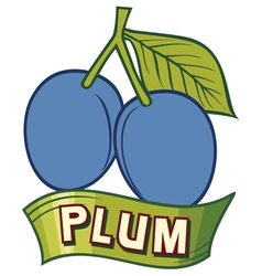 Plum label design vector