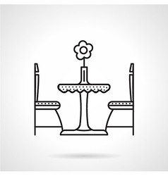 Table for two black line icon vector image