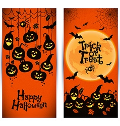 Halloween background of cheerful pumpkins with vector