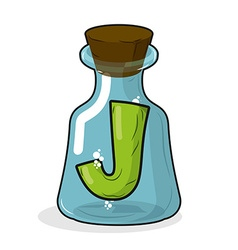 J in retro laboratory flask bottle letter in old vector