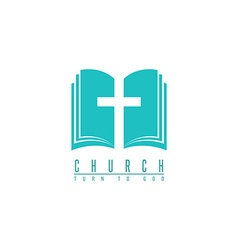Church logo cross and abstract bible religion vector