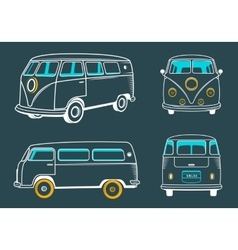 Icons hippie bus vector