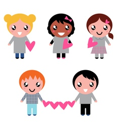Cute kids collection vector
