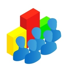Business team with chart icon isometric 3d style vector
