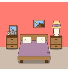 Design of room - bedroom with bed two bedside vector
