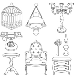 Vintage rotro decor items vector