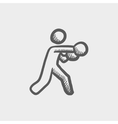 Boxing man punch sketch icon vector