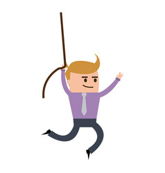 Businessman hung rope up to the higher cartoon vector