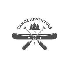 Canoe aadventure badge design element vector