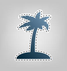 Coconut palm tree sign blue icon with vector