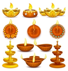 Collection of diwali decorated diya vector