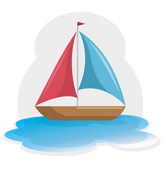 Colorful sailboat icon vector