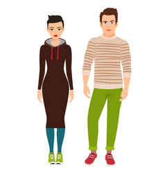 couple in hipster style clothes vector image vector image