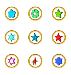 Creative star icons set cartoon style vector