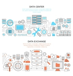 Datacenter Horizontal Linear Banners vector image vector image