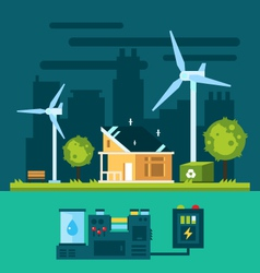 Eco house in urban scene with green energy vector image